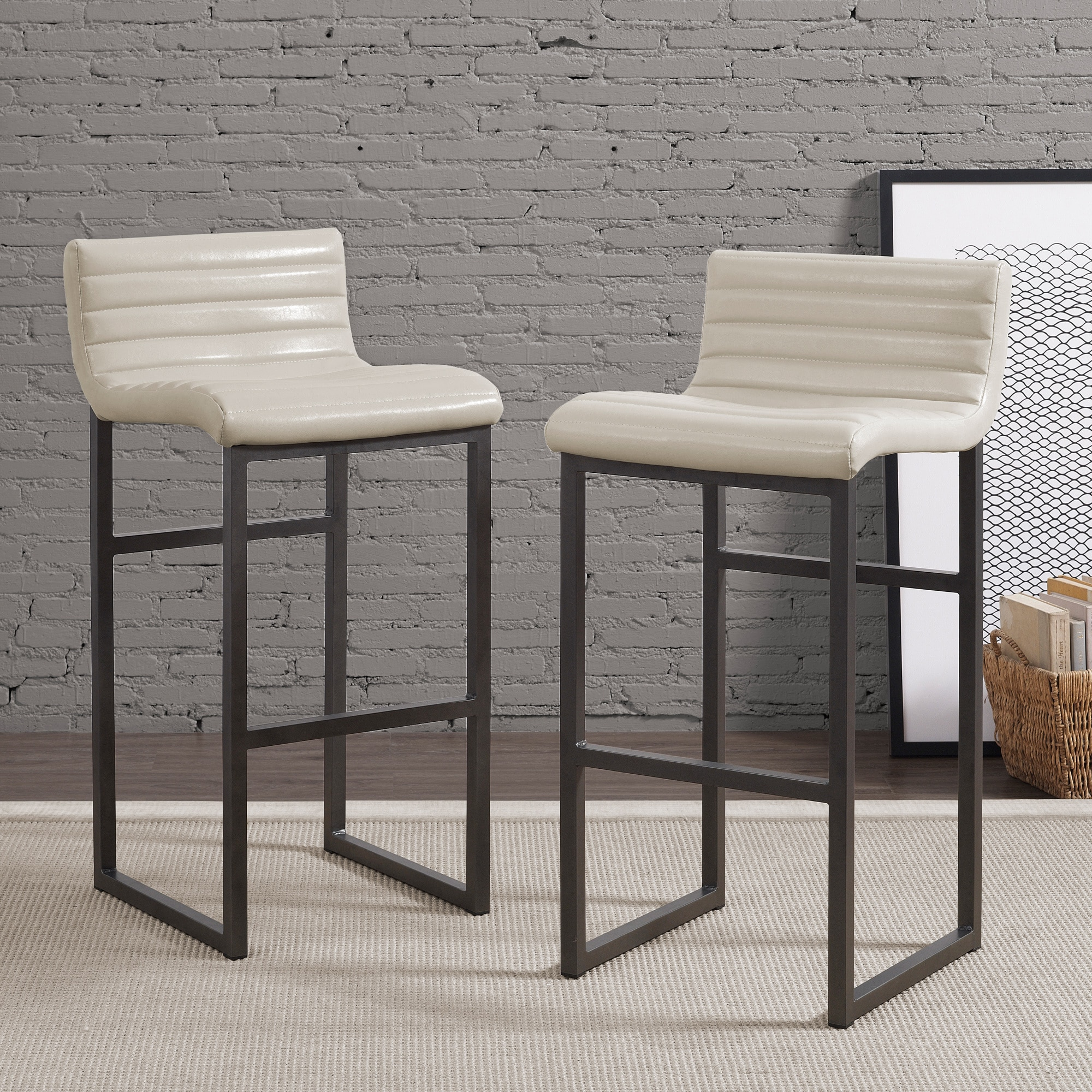 Channel Cream Back Bar Stool (Set of 2), Beige Off-White ...
