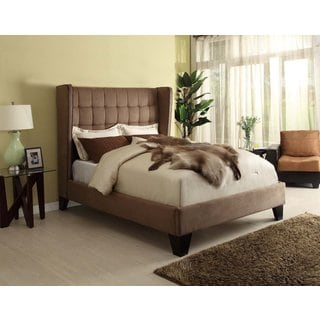 Lyke Home Oliver Brown Microfiber Wingback Queen Bed