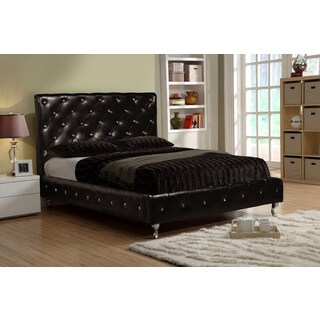 LYKE Home Black Faux Leather Twin-size Platform Bed