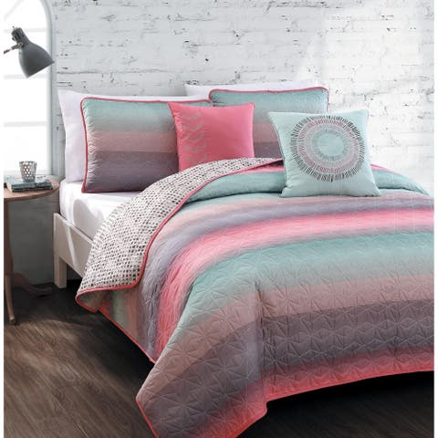 Cypress Reversible Ombre Quilt Set with Decorative Pillows