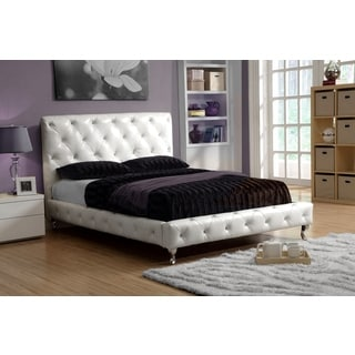 LYKE Home Ivory White Platform King Bed Frame