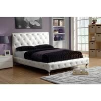 LYKE Home Ivory White Platform King Bed Frame