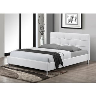 LYKE Home Charleston Tufted White Faux Leather Queen-size Platform Bed