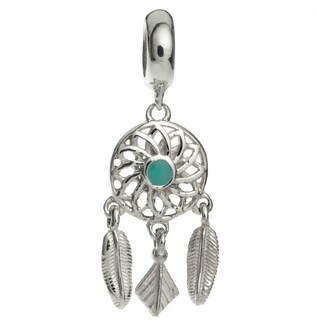 Queenberry Sterling Silver Dream Catcher Flower Feather Enamel Dangle European Bead Charm