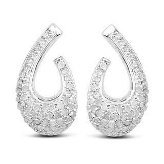 Olivia Leone Sterling Silver 5/8ct TDW Diamond Earrings
