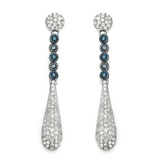 Olivia Leone Sterling Silver 1ct TDW White and Blue Diamond Earrings (I-J, I2-I3)