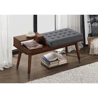 Mid-Century Style Tufted Telephone Bench Granite