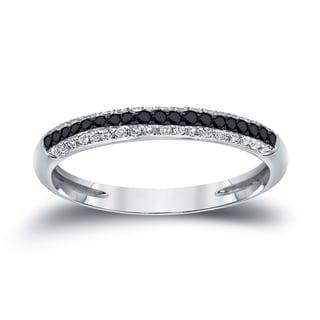 Auriya 14k Gold 1 4ctw Multi Row Pave Black And White Diamond Ring