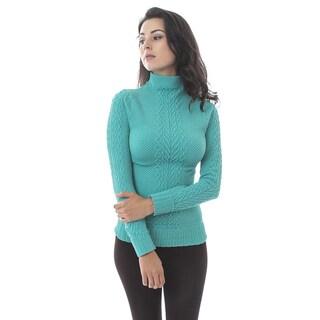 Soho Apparel Women's Heather Mock Neck Long Sleeves