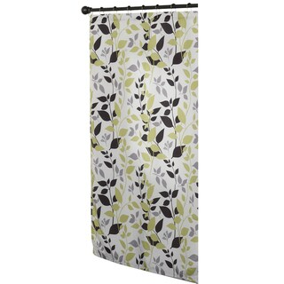 Modern Botanical Multicolor Fabric Shower Curtain