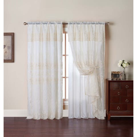 VCNY Adrianna 55 x 90-inch Embroidered Curtain Panel with Attached Valance and Backing