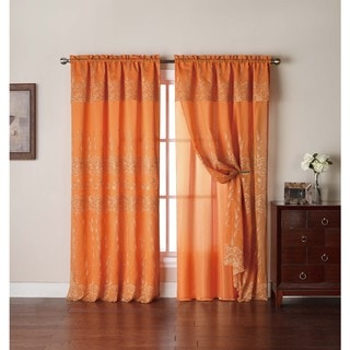VCNY Adrianna Embroidered Curtain Panel with Attached Valance and Backing