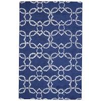 Grand Bazaar Hand-Woven Wool Lonni Rug in Atlantic, 9' x 13' - 9' x 13'