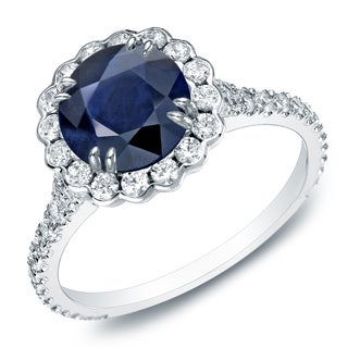 Auriya 14k Gold 1 1/2ct Blue Sapphire and 4/5ct TDW Round Diamond Halo Engagement Ring (H-I, SI1-SI2)