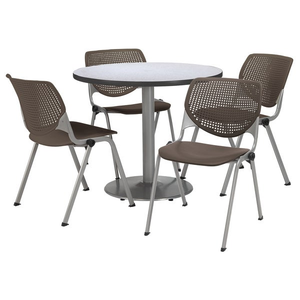 Charmant KFI Seating Round 42in Pedestal Table With 4 Brownstone KOOL Stack Chairs