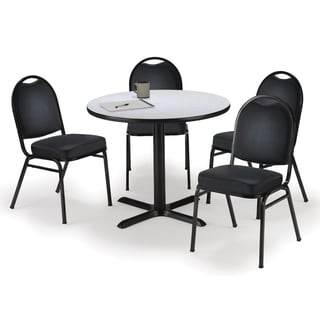 Round 36-inch Pedestal Table with 4 Armless Stacking Chairs -inch Black Vinyl