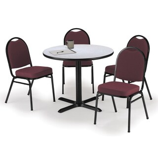 KFI Seating Round 36in Pedestal Table with 4 Armless Stacking Chairs in Burgundy Fabric