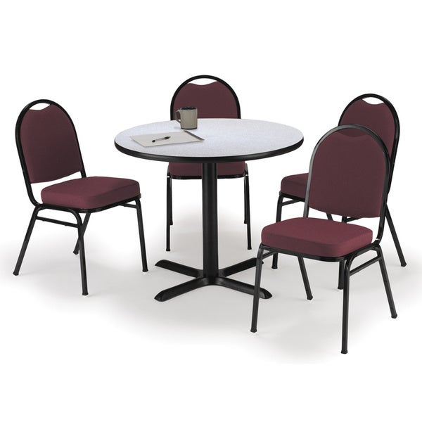 Charmant KFI Seating Round 42in Pedestal Table With 4 Burgundy Armless Stacking  Chairs