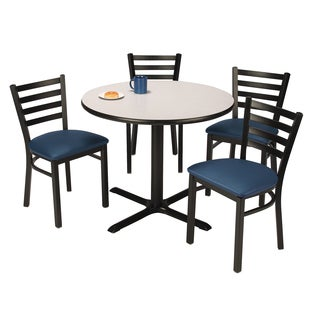Round 36-inch Pedestal Table with 4 Vinyl Upholstered Cafe Chairs -inch Navy