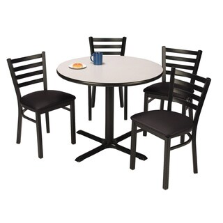 KFI Seating Round 36in Pedestal Table with 4 Vinyl Upholstered Cafe Chairs in Black