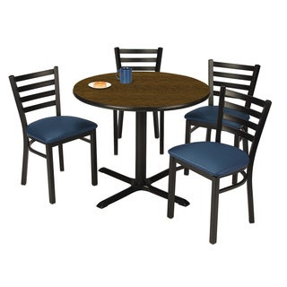 Round 42-inch Pedestal Table with 4 Navy Vinyl Upholstered Cafe Chairs