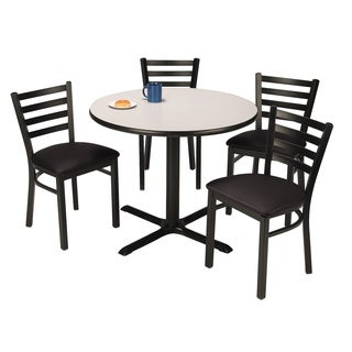 Round 42-inch Pedestal Table with 4 Vinyl Upholstered Cafe Chairs -inch Black