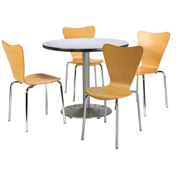 KFI Round 36in Pedestal Table with 4 Bentwood Natural Cafe Chairs