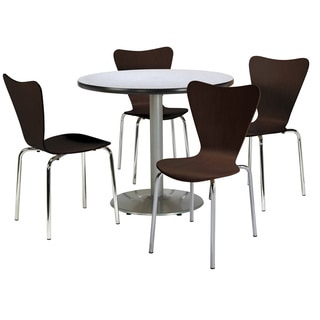 Round 36-inch Pedestal Table with 4 Bentwood Espresso Cafe Chairs