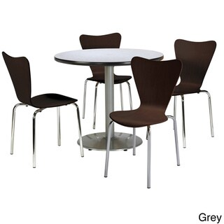 KFI Round 36in Pedestal Table with 4 Bentwood Espresso Cafe Chairs - 36 (Grey Nebula)