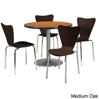 KFI Round 36in Pedestal Table with 4 Bentwood Espresso Cafe Chairs - 36 (Medium Oak)
