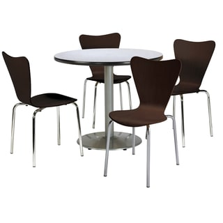Round 42-inch Pedestal Table with 4 Bentwood Espresso Cafe Chairs