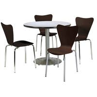 KFI Seating Round 42in Pedestal Table with 4 Bentwood Espresso Cafe Chairs
