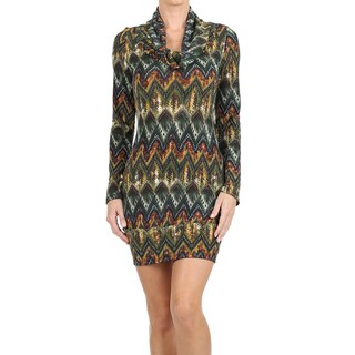 MOA Collection Women's Cowl Neck Border Print Mini Sweater Dress