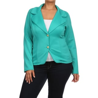 MOA Collection Women's Plus Size Solid Blazer