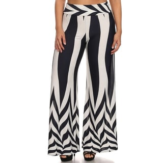 MOA Collection Women's Plus Size Navy Chevron Pants