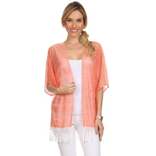 MOA Collection Women's Lace Open Cardigan with Fringe