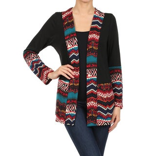 MOA Collection Women's Open Front Border Print Cardigan