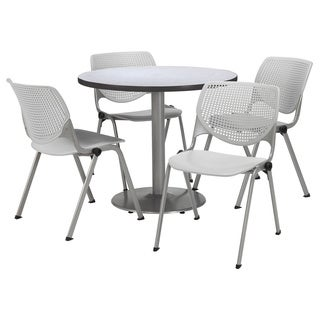 Round 42-inch Pedestal Table with 4 Light Grey KOOL Series Stack Chairs
