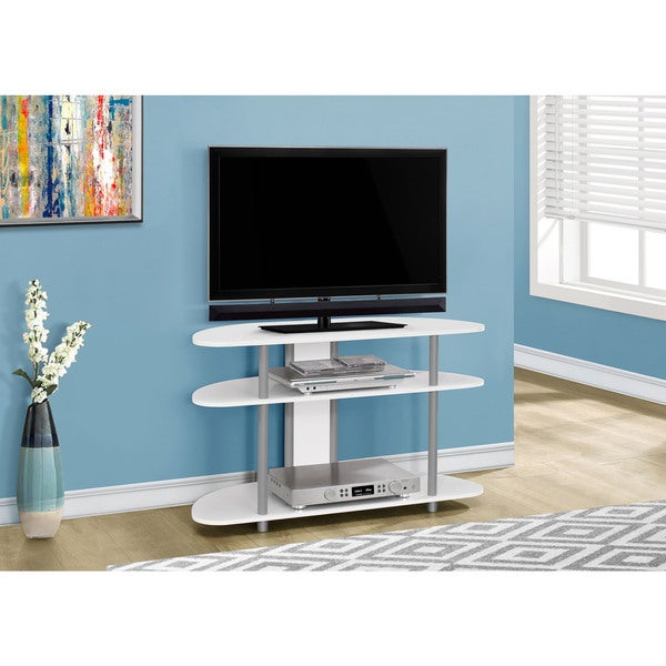 Tv Stand 38 L White With Silver Accent Free Shipping Today 11137915