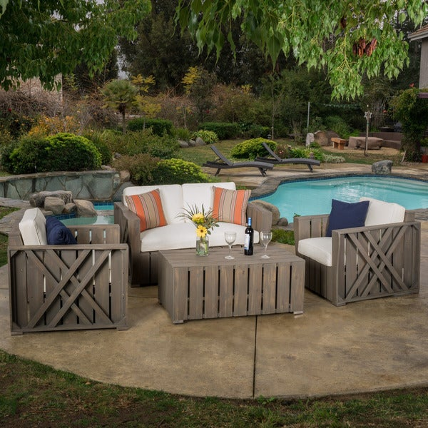 Outdoor Cadence 4 Piece Acacia Wood Chat Set With Cushions By Christopher  Knight Home