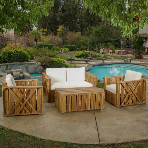 Outdoor Cadence 4-piece Acacia Wood Chat Set with Cushions by Christopher Knight Home