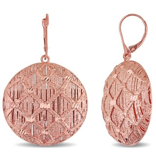 Miadora Signature Collection 18k Rose Gold Italian Filigree Leverback Dangle Earrings