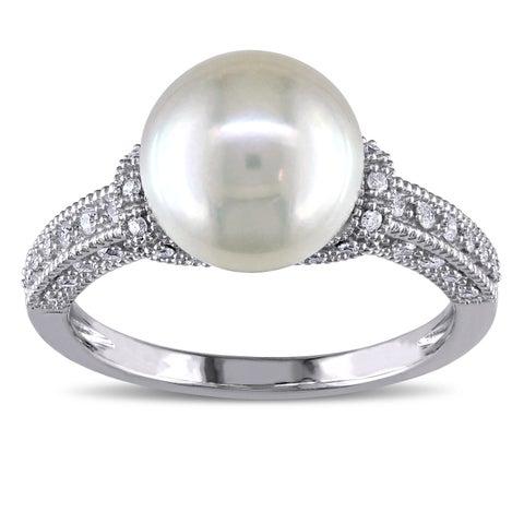 Miadora 10k White Gold 8.5-9 mm White Pearl and 1/4ct TDW Diamond Vintage Cocktail Ring