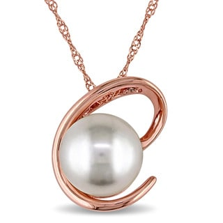 Miadora 14k Rose Gold Cultured Freshwater White Pearl Swirl Necklace (8.5-9 mm)