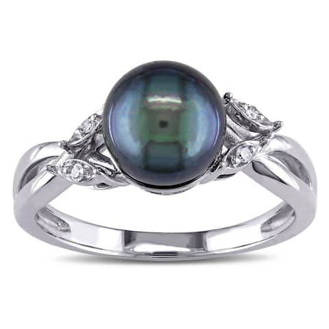 Miadora 10k White Gold Cultured Freshwater Black Pearl and Diamond Accent Cocktail Ring (7.5-8 mm)