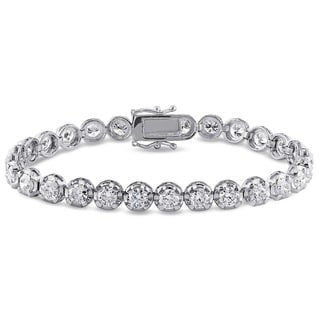 Miadora Signature Collection 18k White Gold 7 1/2ct TDW Diamond Tennis Bracelet (H-I, SI2-SI3)