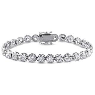 Miadora Signature Collection 18k White Gold 7 1/2ct TDW Diamond Tennis Bracelet