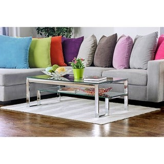 Furniture of America Estelline Contemporary Metal Glass Top Coffee Table