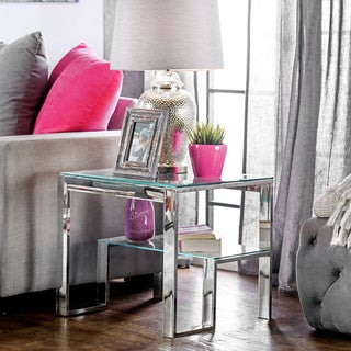 Furniture of America Estelline Contemporary Metal Glass Top End Table