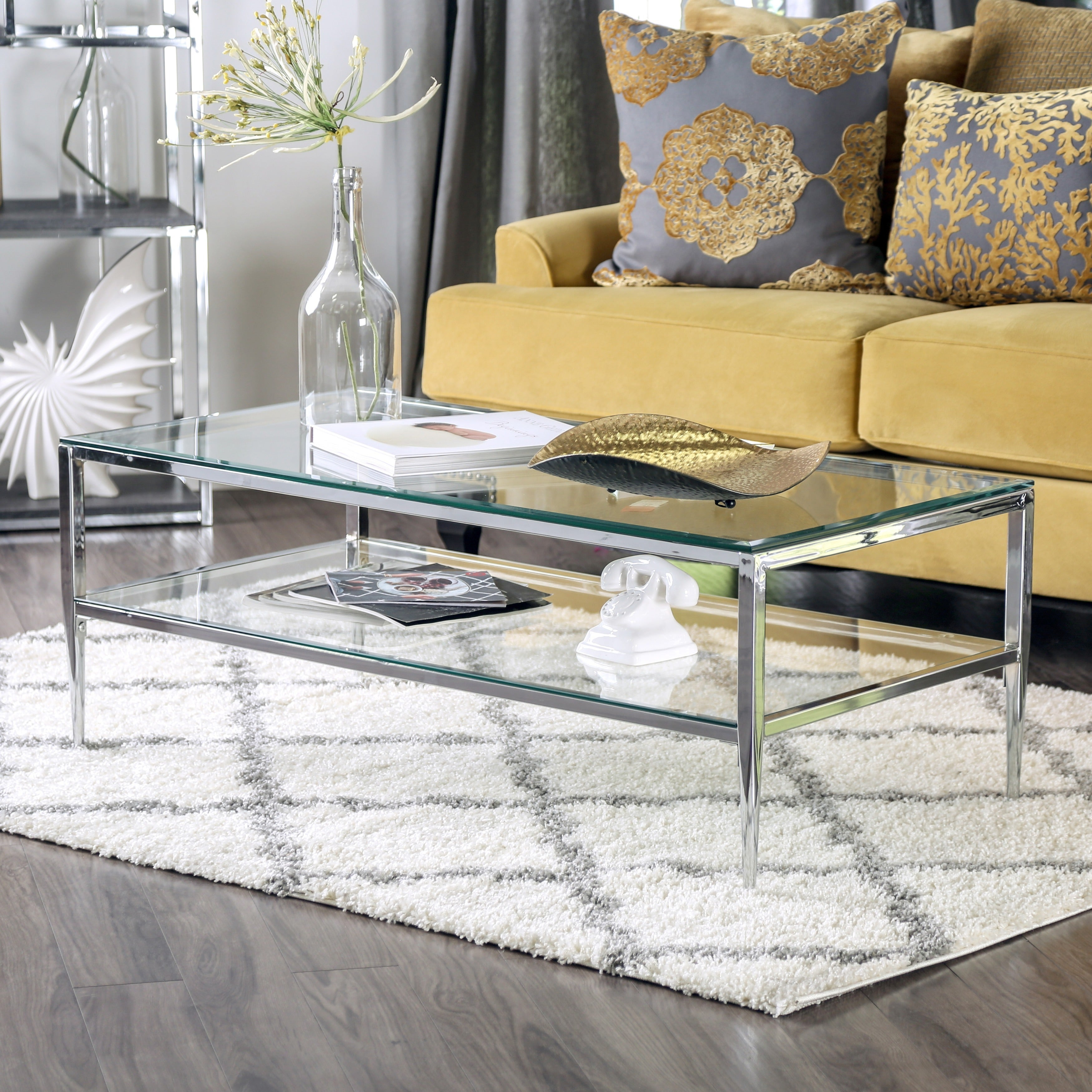 Natal Chrome and Glass Coffee Table by Greyson Living Free